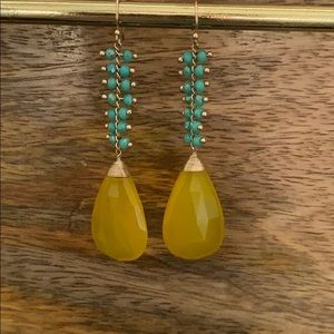 Anthropology yellow and turquoise earrings